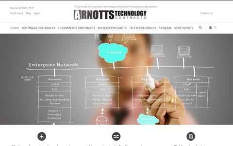 Screenshot of Home Page technologylawyer.com.au - Arnotts Technology Contracts - Business Documents and Legal Agreements for Startups and Established IT Businesses - captured Oct. 4, 2014