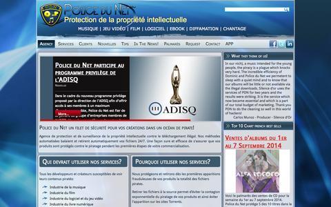 Screenshot of Home Page policedunet.com - Police du Net - Police du Net Inc - captured Sept. 30, 2014