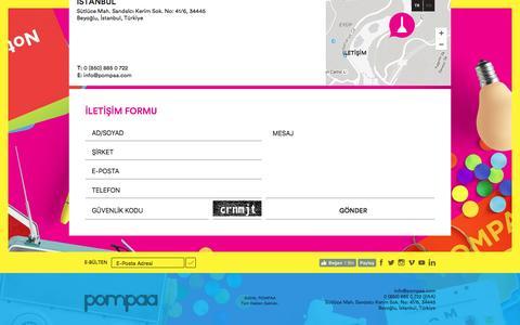 Screenshot of Contact Page pompaa.com - POMPAA | Ä°letiÅŸim - captured July 19, 2016