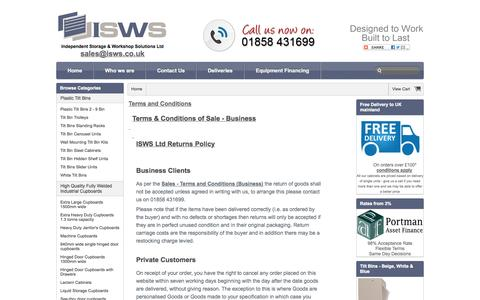 Screenshot of Terms Page isws.co.uk - Independent Storage & Workshop Solutions Ltd Returns Policy & Terms and Conditions - captured Oct. 6, 2014