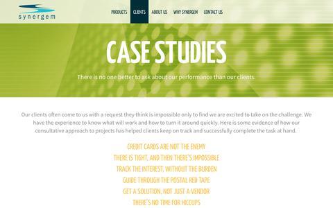 Screenshot of Case Studies Page synergem.com - Synergem | Case Studies - captured Nov. 15, 2017