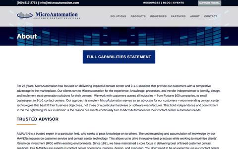 Screenshot of About Page microautomation.com - Customer Contact Solutions | MicroAutomation - captured Aug. 11, 2016