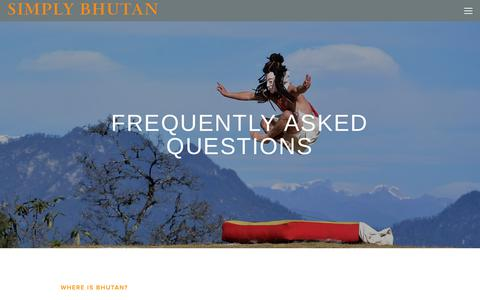 Screenshot of FAQ Page simplybhutan.com - FAQs — Simply Bhutan - captured Dec. 9, 2018