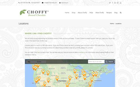 Screenshot of Locations Page choffy.com - Locations | Choffy | Brewed Chcolate | Brewed Cocoa |Coffee Alternative - captured July 29, 2017