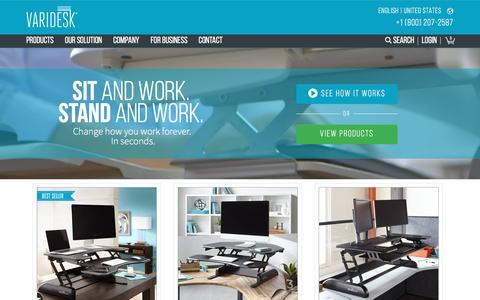 Screenshot of Home Page varidesk.com - Height Adjustable Standing Desks | VARIDESK Sit-to-Stand Desks - captured April 8, 2017