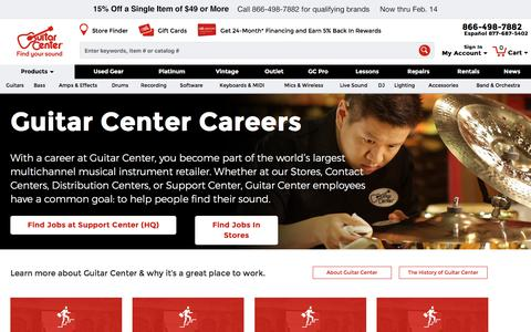 Screenshot of Jobs Page guitarcenter.com - career - captured Feb. 10, 2018