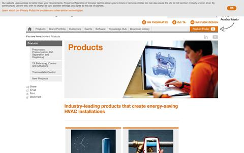 Screenshot of Products Page imi-hydronic.com - Industry-leading products that create energy-saving HVAC installations - captured Aug. 25, 2017