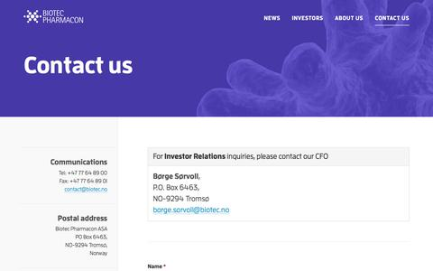 Screenshot of Contact Page biotec.no - Contact us — Biotec Pharmacon - captured Oct. 10, 2017