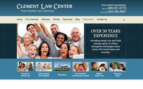 Screenshot of Testimonials Page clementlawcenter.com - Testimonials | Clement Law Center PS | Federal Way, Washington - captured July 18, 2018