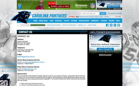 Screenshot of Contact Page panthers.com - Carolina Panthers     Contact Us - captured Sept. 25, 2014
