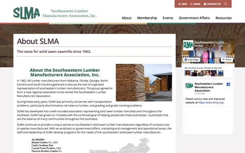 Screenshot of About Page slma.org - About Us -  Southeastern Lumber Manufacturer's Association, Inc. - captured Jan. 20, 2018