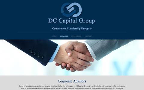 Screenshot of Services Page dccapitalgroup.com - Corporate Advisory Services | Lansdowne, VA - captured Dec. 16, 2016