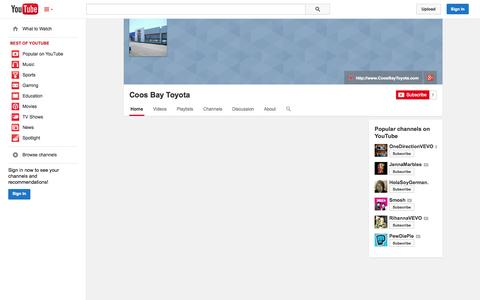 Screenshot of YouTube Page youtube.com - Coos Bay Toyota  - YouTube - captured Oct. 25, 2014