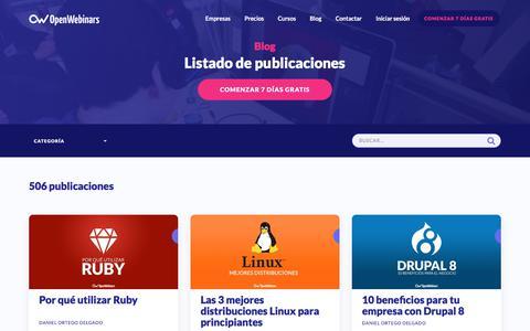 Screenshot of Blog openwebinars.net - Artículos, Tutoriales, y Videotutoriales de Programación y Sistemas | OpenWebinars.net - captured July 14, 2017