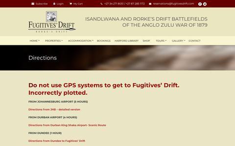 Screenshot of Maps & Directions Page fugitivesdrift.com - Fugitives Drift Lodge  Directions - Fugitives Drift Lodge, johannesburg, durban - captured Nov. 14, 2018