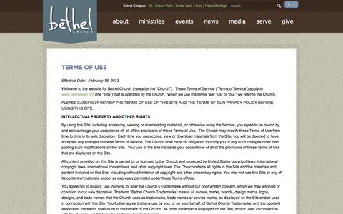 Screenshot of Terms Page bethelweb.org - Terms of Use - Bethel Church and Ministries - captured Jan. 24, 2018