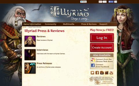 Screenshot of Press Page illyriad.co.uk - Illyriad Press & Reviews - captured Sept. 24, 2014
