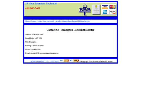 Screenshot of Contact Page bramptonlocksmithmaster.ca - Contact Us - Brampton Locksmith Master - captured Sept. 30, 2014