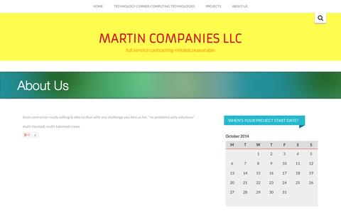 Screenshot of About Page martinmn.com - About Us - MARTIN COMPANIES LLC - captured Oct. 27, 2014