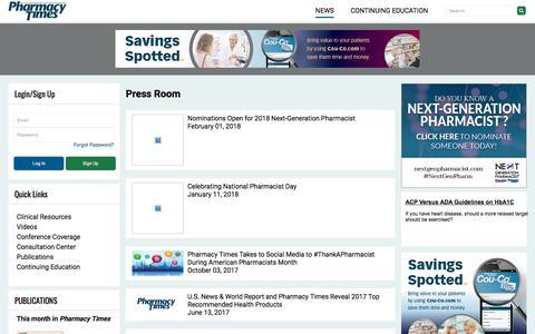 Screenshot of Press Page pharmacytimes.com - Press Room | Pharmacy Times - captured May 21, 2018