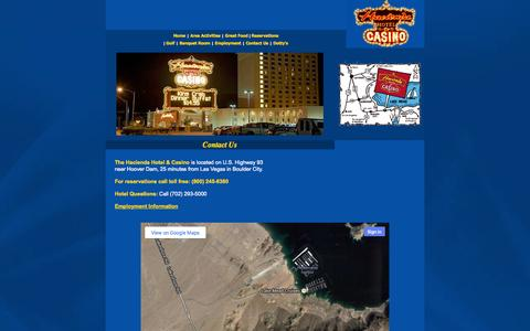 Screenshot of Contact Page haciendaonline.com - The Hacienda Hotel & Casino invites you to enjoy the excitement ofgaming, fine dining, entertainment and spacious accommodations in beautiful Boulder City, Nevada. - captured Oct. 1, 2014