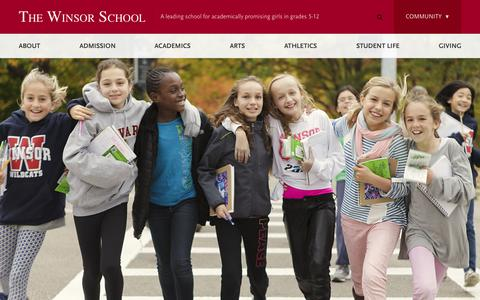 Screenshot of Home Page winsor.edu - Winsor School, The - Home - captured Nov. 17, 2015