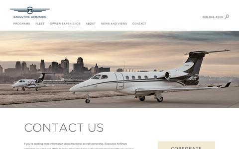 Screenshot of Contact Page execairshare.com - Contact Us For Fractional Private Jet Shares and Travel Programs - captured Sept. 30, 2018