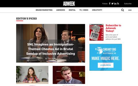 Screenshot of Home Page adweek.com - Adweek – Breaking News in Advertising, Media and Technology - captured Feb. 12, 2017