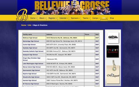 Screenshot of Maps & Directions Page bellevuelacrosse.com - All Facilities - Bellevue Lacrosse Club - captured Oct. 5, 2014
