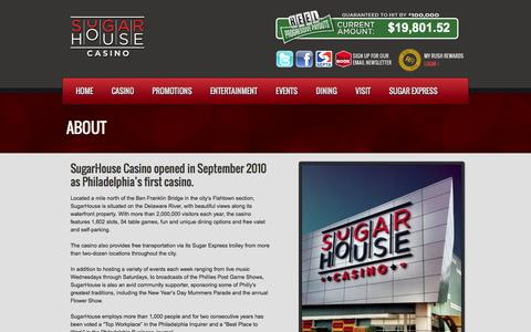 Screenshot of About Page sugarhousecasino.com - SugarHouse Casino About | SugarHouse Casino - captured Sept. 30, 2014