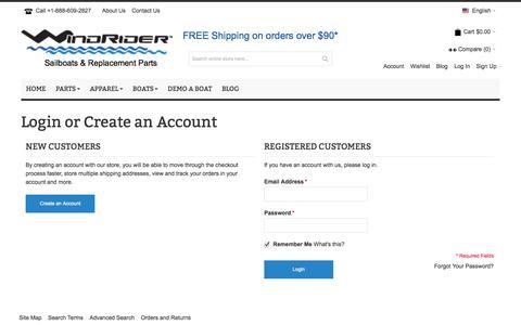 Screenshot of Login Page windrider.com - Customer Login - captured Oct. 26, 2014
