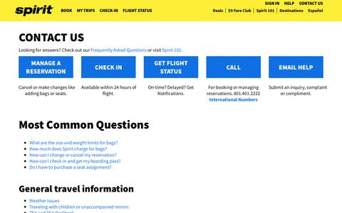 Screenshot of Contact Page spirit.com - Spirit Airlines | flights, check-in, boarding pass, flight status, vacations - captured March 22, 2019