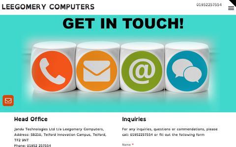 Screenshot of Contact Page leegomerycomputers.com - Contact us | Leegomery Computers - captured May 17, 2017