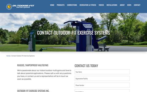 Screenshot of Contact Page outdoor-fit.com - Contact Outdoor-Fit Exercise Systems | Outdoor Fitness Equipment - captured Nov. 2, 2017