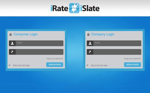 Screenshot of Login Page irateislate.co.uk - Login to Manage Reviews and Respond to Complaints - captured Feb. 11, 2016