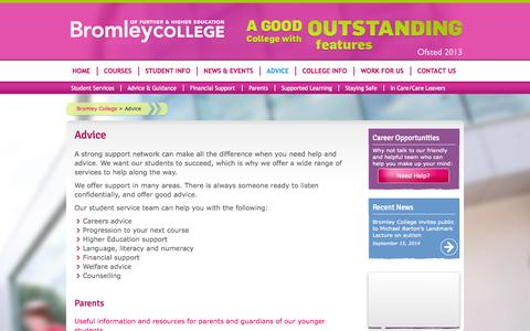 Screenshot of Support Page bromley.ac.uk - Advice - Bromley College - captured Sept. 23, 2014