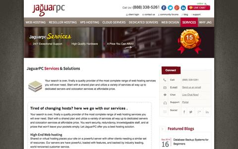 Screenshot of Services Page jaguarpc.com - Web Hosting Services and Solutions | JaguarPC - captured Sept. 18, 2014