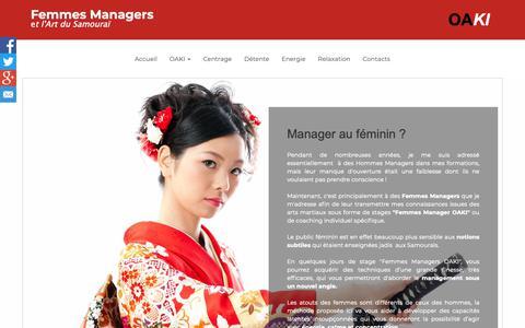 Screenshot of Home Page femme-management-oaki.lu - Management au féminin et Art du Samouraï - captured Oct. 23, 2018
