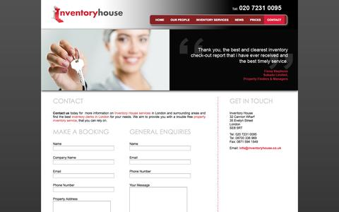 Screenshot of Contact Page inventoryhouse.co.uk - Contact Us For All Inventory Services | Inventory House - captured Sept. 30, 2014