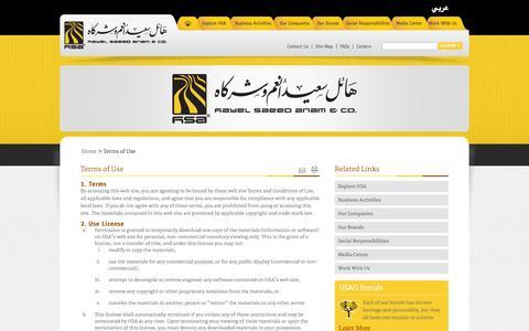 Screenshot of Terms Page hsagroup.com captured Oct. 1, 2014