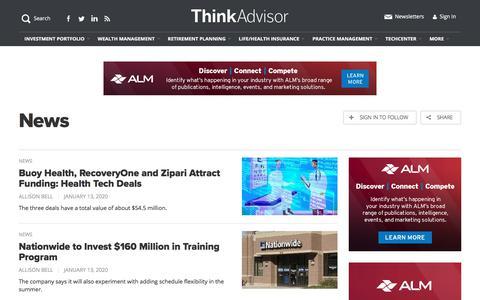 Screenshot of Press Page thinkadvisor.com - Investment News & Analysis for Financial Advisors   ThinkAdvisor - captured Jan. 14, 2020