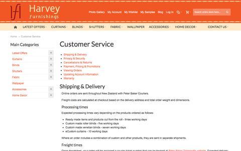 Screenshot of Support Page harveyfurnishings.co.nz - Customer Service - captured Oct. 29, 2016