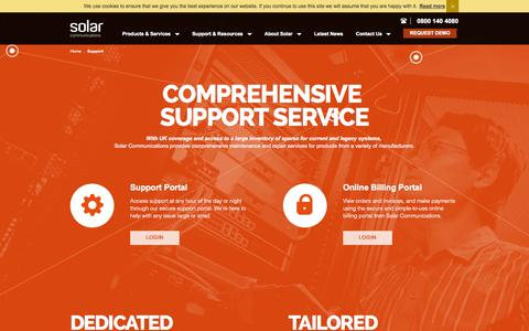 Screenshot of Support Page solar.co.uk - Support - Solar Communications - captured Oct. 9, 2014