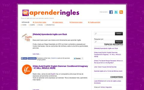 Screenshot of Home Page aprenderingles.com.br - AprenderIngles « Dicas de inglês para quem quer aprender usando a internet AprenderIngles - captured Oct. 4, 2014