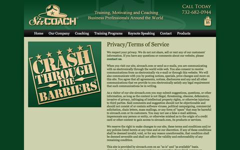 Screenshot of Privacy Page sircoach.com - Privacy/Terms of Service: Professional Business Coaching For Financial Advisors, Planners - captured Feb. 27, 2016