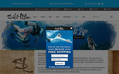 Screenshot of About Page saltlife.com - About Salt Life | Salt Life Beach Gear & Apparel - captured July 25, 2018