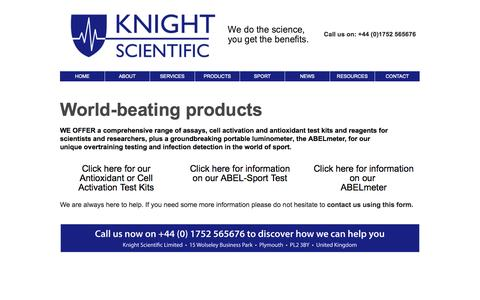 Screenshot of Products Page knightscientific.com - KNIGHT SCIENTIFIC - Assays, Cell Activation Test Kits, Reagents And The ABEL-Meter Overtraining Testing Device - Knight Scientific - captured Sept. 30, 2014