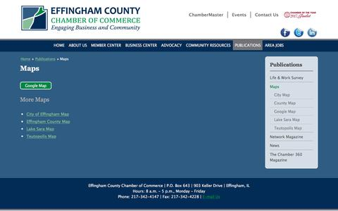Screenshot of Maps & Directions Page effinghamcountychamber.com - Maps | Effingham County IL Chamber of Commerce - captured July 5, 2018