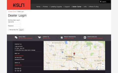 Screenshot of Login Page ksun.com - Dealer Login - - captured Feb. 12, 2016