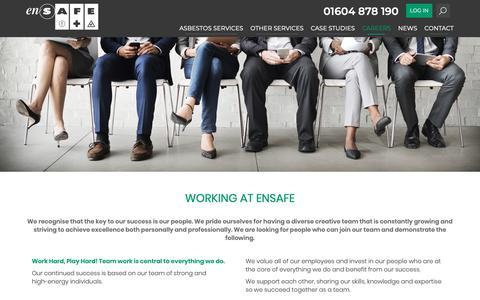Screenshot of Jobs Page ensafe.co.uk - Working At Ensafe - Ensafe - captured Sept. 28, 2018